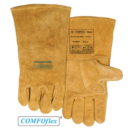 Weldas® COMFOflex® Air Cushioned - Split Leather Premium Welding Gloves - Cotton/Foam Lined - 14 inches - Size L - Inflatable Gloves