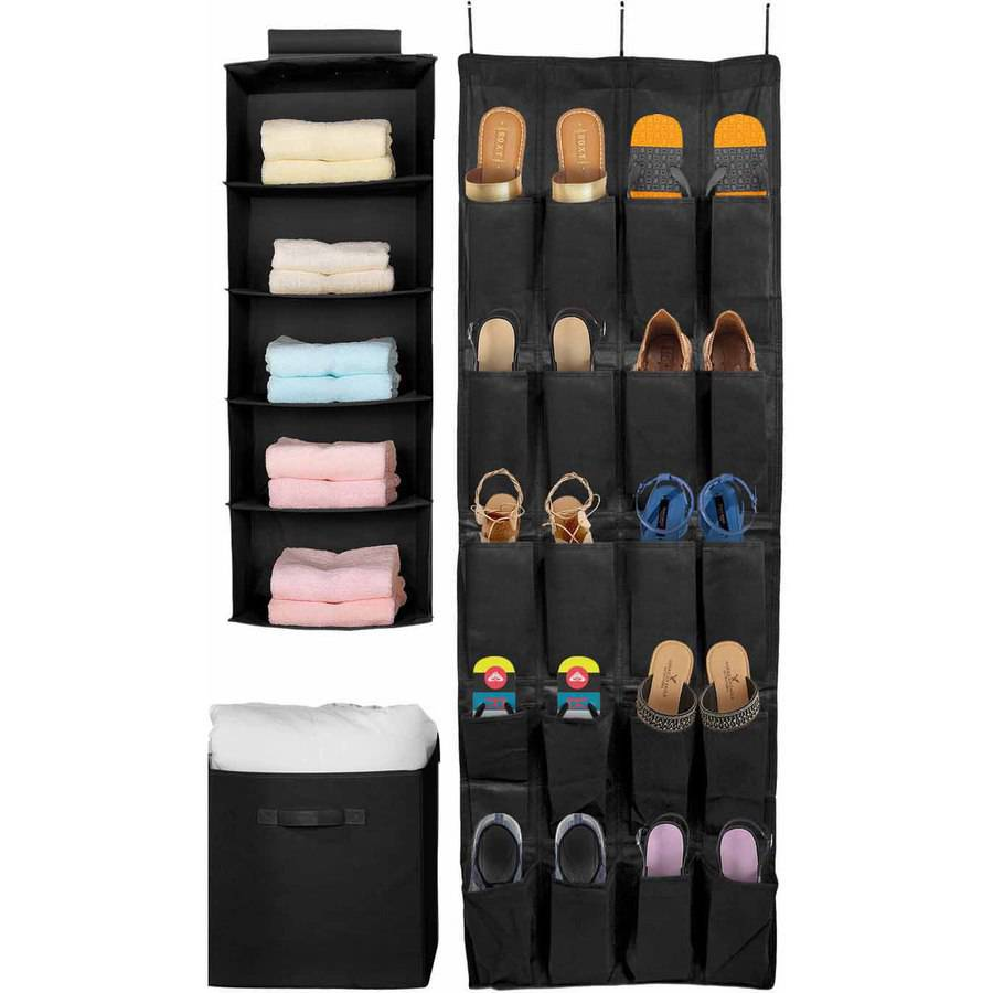 Sorbus Set of 3 Foldable Storage Box Cube Basket, Hanging Closet Shelves Organizer, Hanging Shoe Organizer, for Clothing, Shoes, Underwear, Bra, Socks, Linen and Towels (Black)