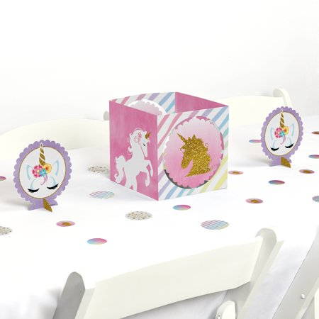 Rainbow Unicorn - Magical Unicorn Baby Shower or Birthday Party Centerpiece & Table Decoration Kit