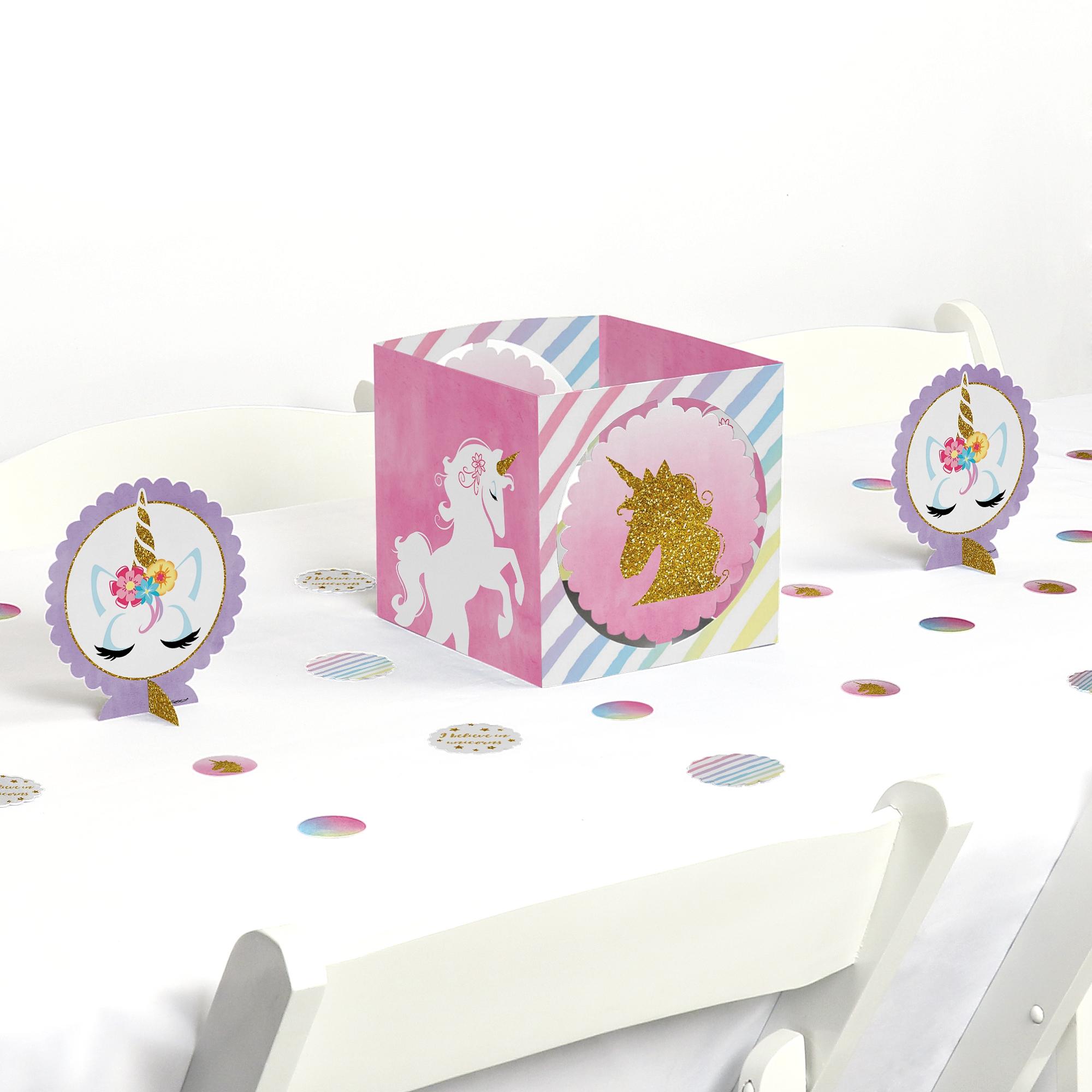 Rainbow Unicorn - Magical Unicorn Baby Shower or Birthday Party Centerpiece & Table Decoration Kit