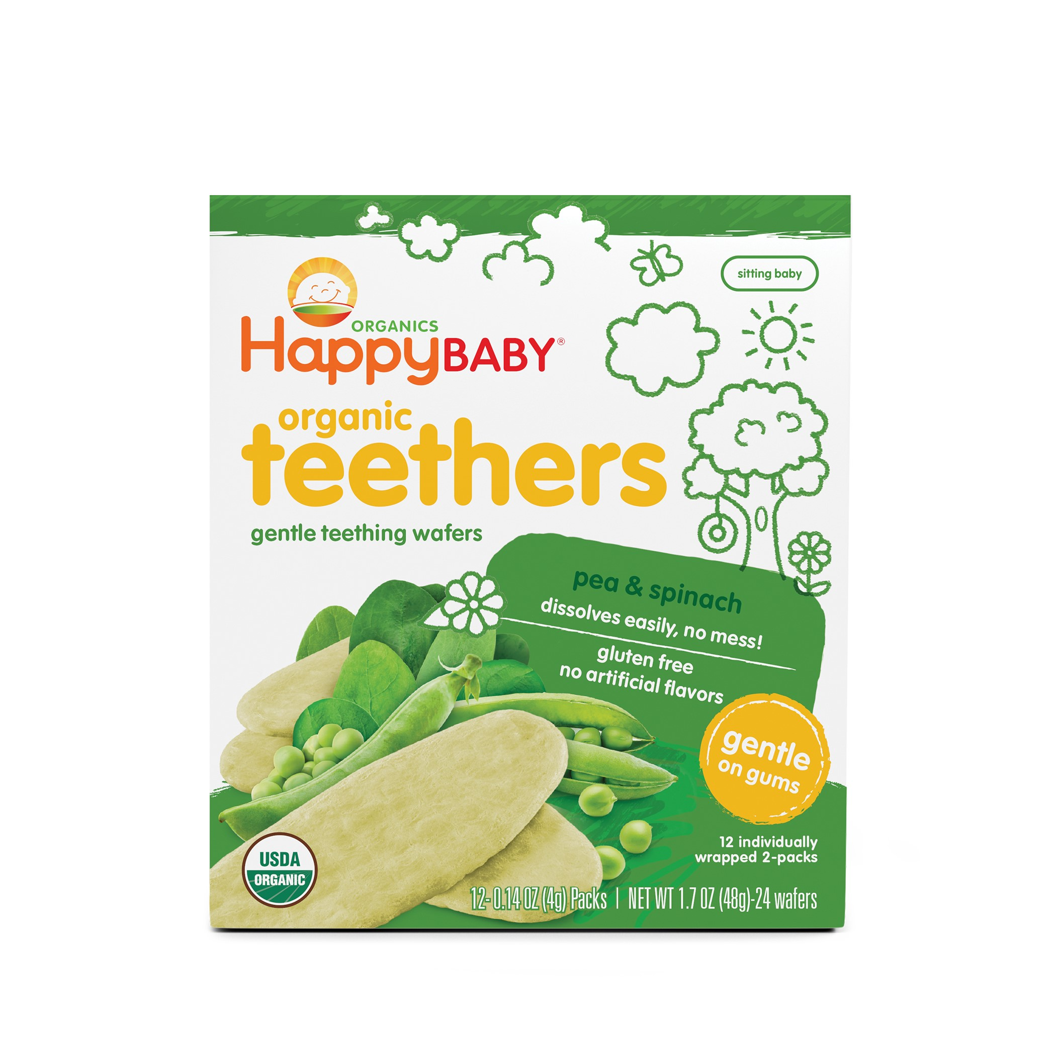 Happy Baby Gentle Teethers, Organic Baby Food, Pea & Spinach, 12 Count