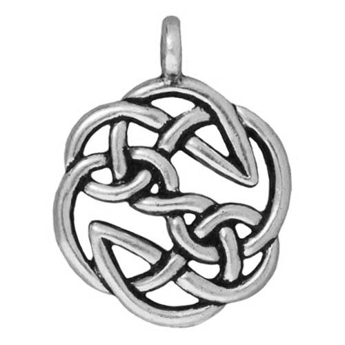 Silver Plated Pewter Celtic Open Knot Pendant Charm 30mm (1)