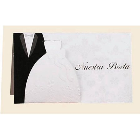 10 Nuestra Boda Invitacion In Spanish Our Wedding Invitations with Envelopes White Gown Black Tuxedo](Black And White Wedding Invitations)