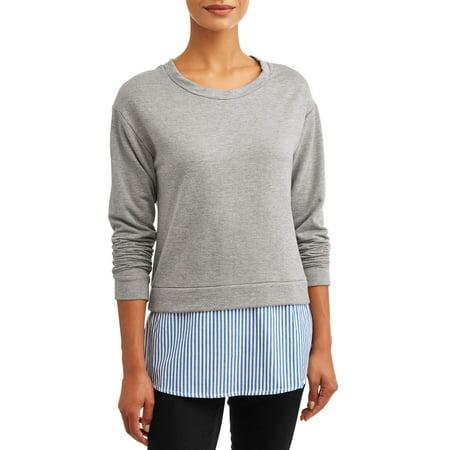 Thyme & Honey Women's Long Sleeve Sweatshirt with Woven Hem