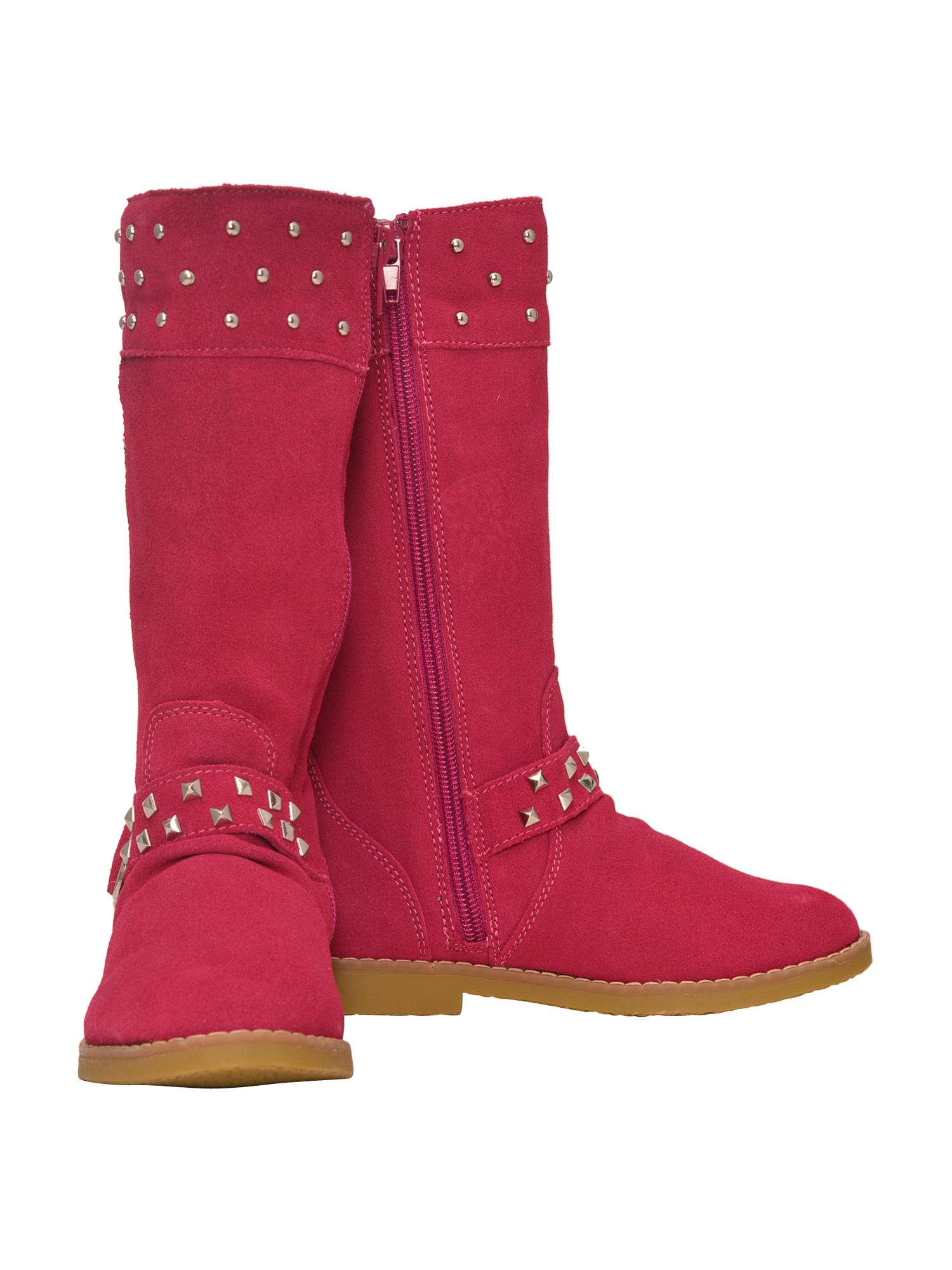 L'Amour Girls Fuchsia Suede Studded Buckle Long Boots