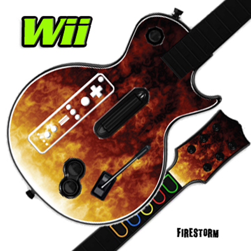 Mightyskins Skin Decal Cover for GUITAR HERO 3 III Nintendo Wii Les Paul - Fire Storm