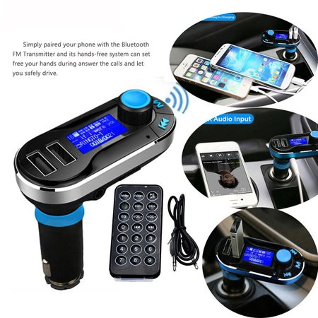 Tagital Wireless In-Car Bluetooth FM Transmitter Radio Adapter Car MP3 Player Handsfree