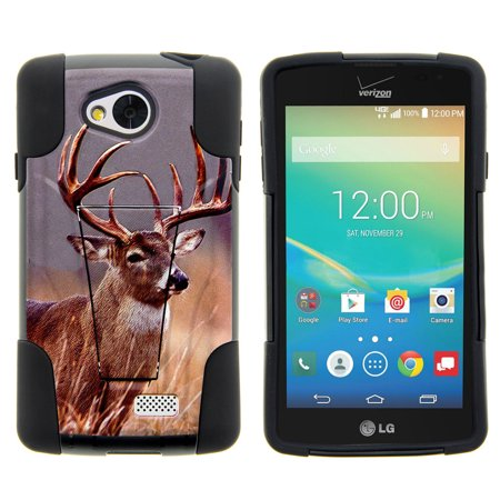 LG Tribute, LG Transpyre and LG Optimus F60 STRIKE IMPACT Dual Layered Shock Resistant Case with Built-In Kickstand by Miniturtle® - Majestic Deer ()