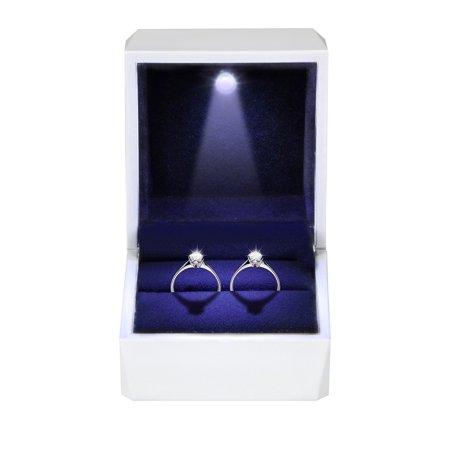 Night Box Light up LED, EEEkit Diamond Ring Box White LED Light Velvet Jewelry Gift for Wedding Proposal - Light Up Ring Box