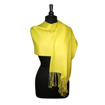 Biagio 100% Wool Pashmina Solid Scarf YELLOW Color Women's Shawl Wrap (Fine Wool Shawl)