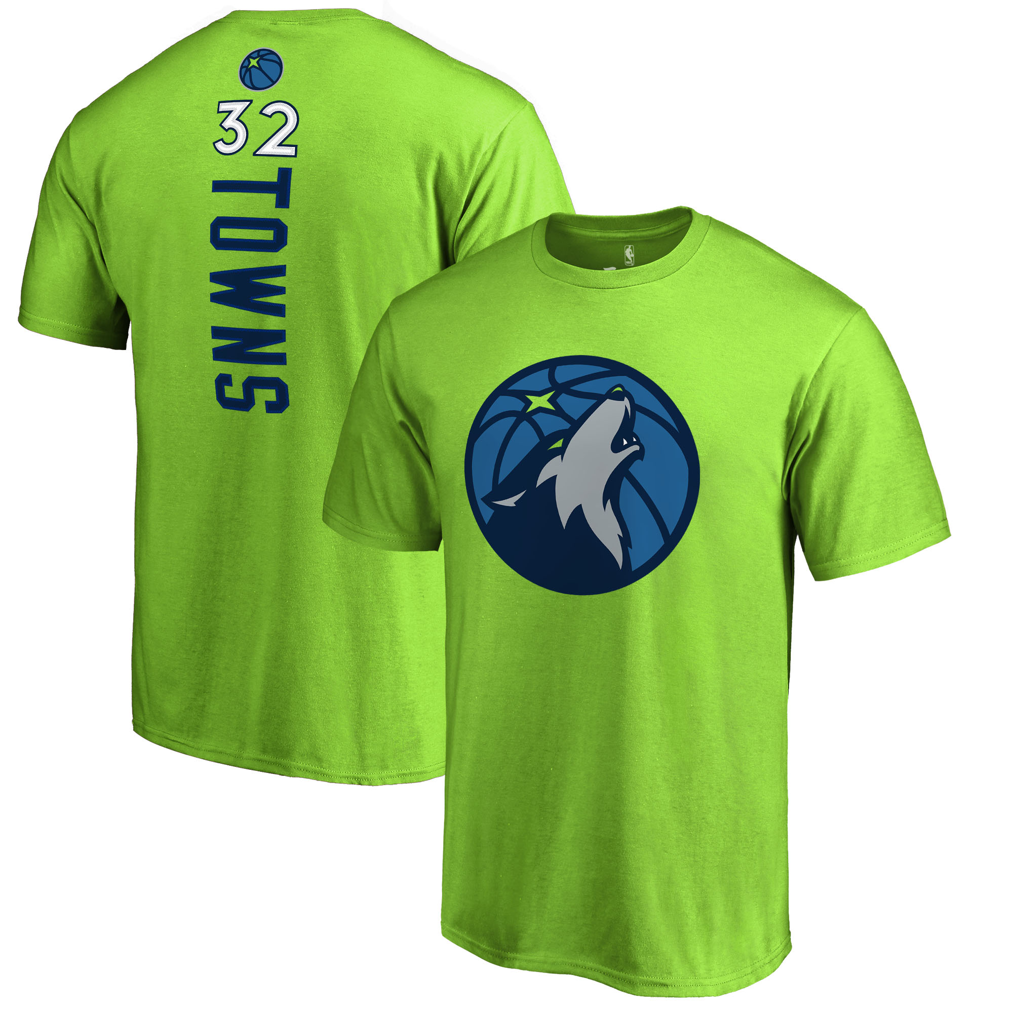 Karl-Anthony Towns Minnesota Timberwolves Fanatics Branded Backer Name & Number T-Shirt - Neon Green