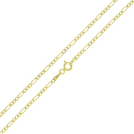 10k Yellow Gold 2mm Hollow Figaro Link Necklace Chain 16