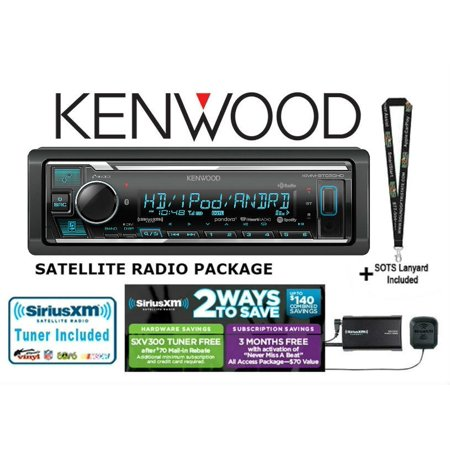 Digital Tuner Satellite Radio - Kenwood KMM-BT525HD w/ SiriusXM SXV300KV1 In-Dash Digital Media Receiver with Built-in Bluetooth and HD Radio AND Satellite Radio Tuner and Antenna Included