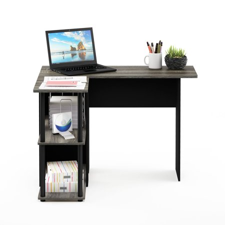 Furinno Abbott L-Shape Desk with Bookshelf, French Oak Grey/Black, 17092GYW/BK