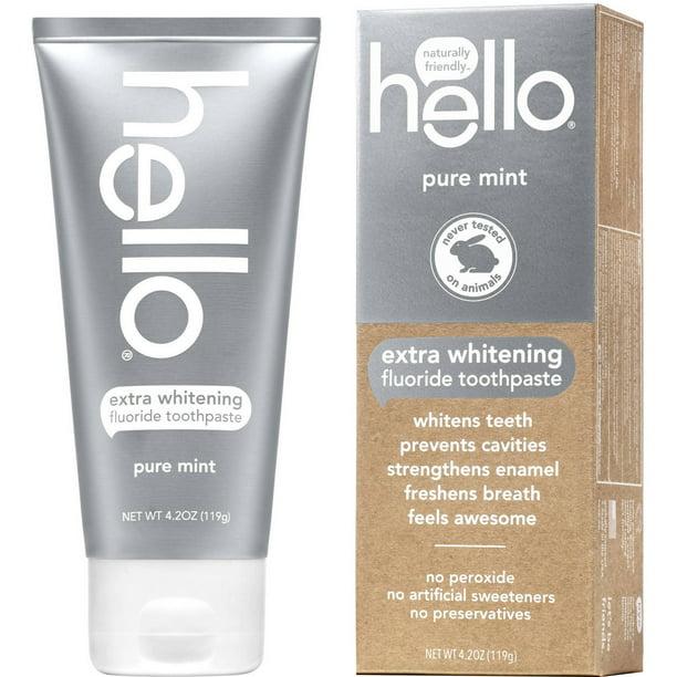 Hello Pure Mint Extra Whitening Fluoride Toothpaste 4 2 Oz