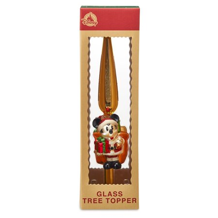 Disney Parks Turn of the Century Holiday Santa Mickey Glass Tree Topper New Box ()