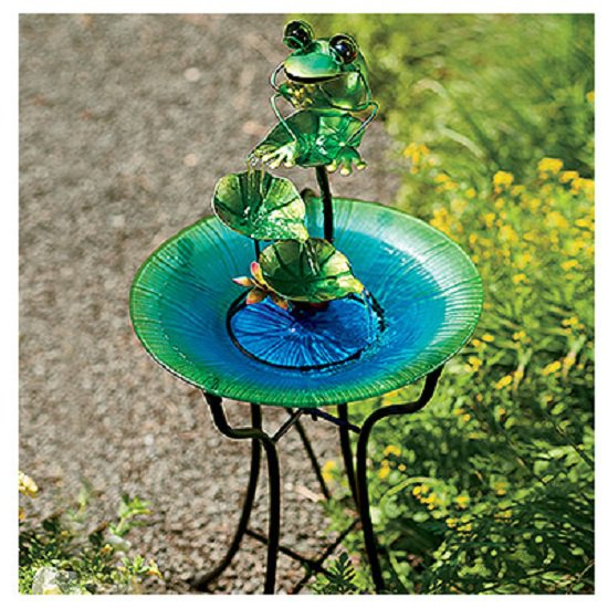 "CTM LH40481 Glass & Metal Birdbath with Frog Fountain, 15"" by 27627"