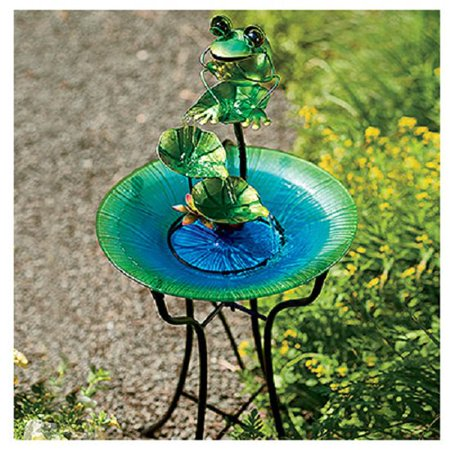 CTM LH40481 Glass & Metal Bird Bath with Frog Fountain, 15