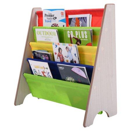 costway kids sling bookshelf storage rack organizer. Black Bedroom Furniture Sets. Home Design Ideas