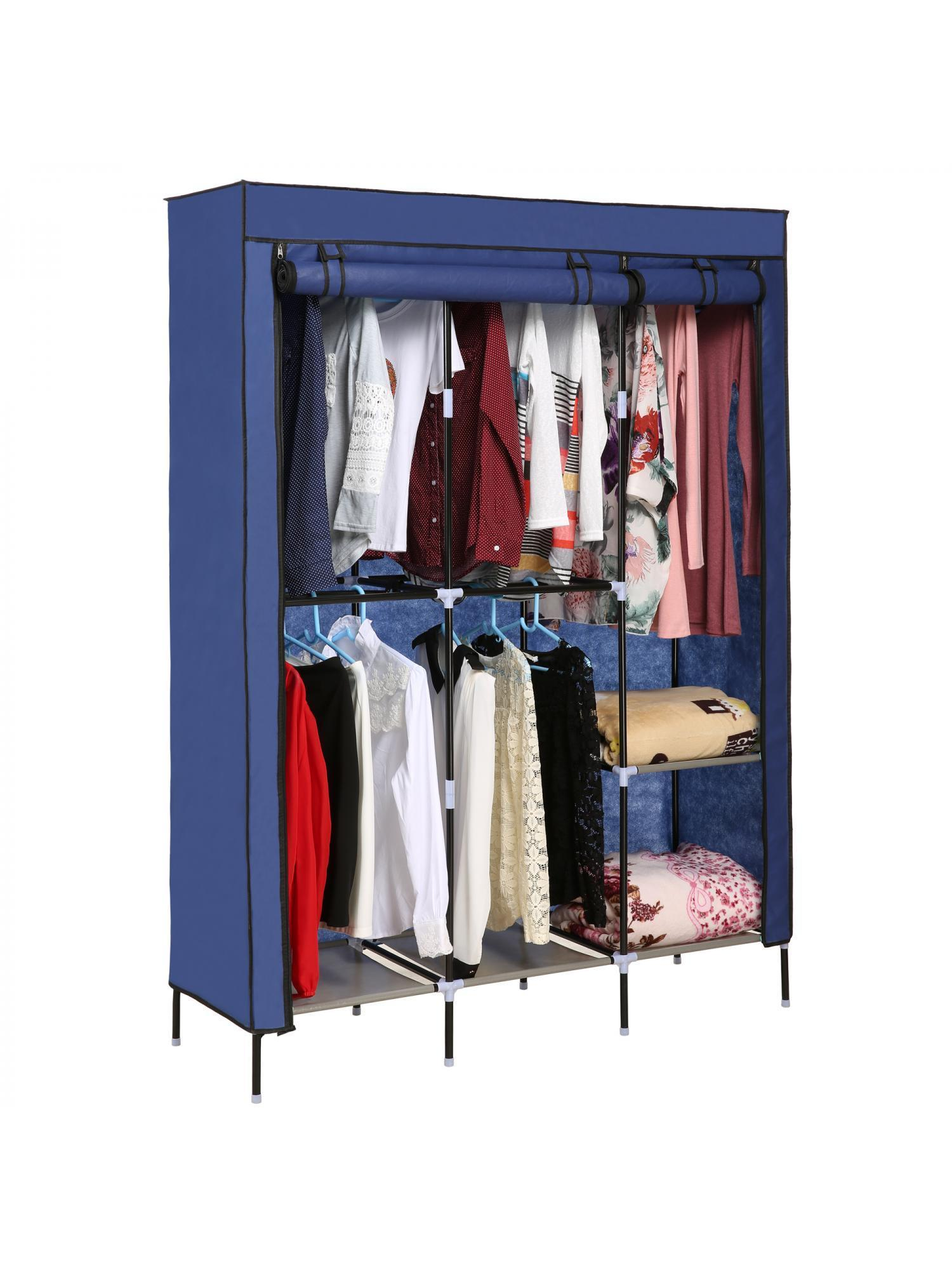 Folding Wardrobe Cabinets Clothes Closet Storage Organizer Rack With Covered