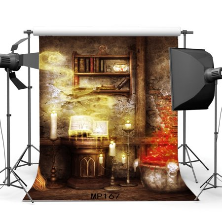 HelloDecor Polyster 5x7ft Gothic Backdrop Happy Halloween Horror Night Magic Books Candlelight Peeled Brick Wallpaper Scary Grunge Rustic Wood Floor Interior Photography Background Photo Studio Props](Happy Halloween Wallpapers Hd)