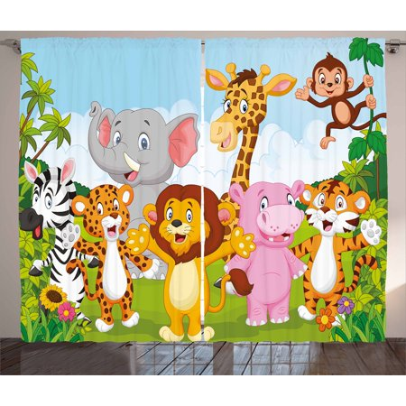 Nursery Curtains 2 Panels Set, Comic African Savannah Animals Playful Friendly Safari Jungle Happy Wildlife Nature, Window Drapes for Living Room Bedroom, 108W X 96L Inches, Multicolor, by Ambesonne