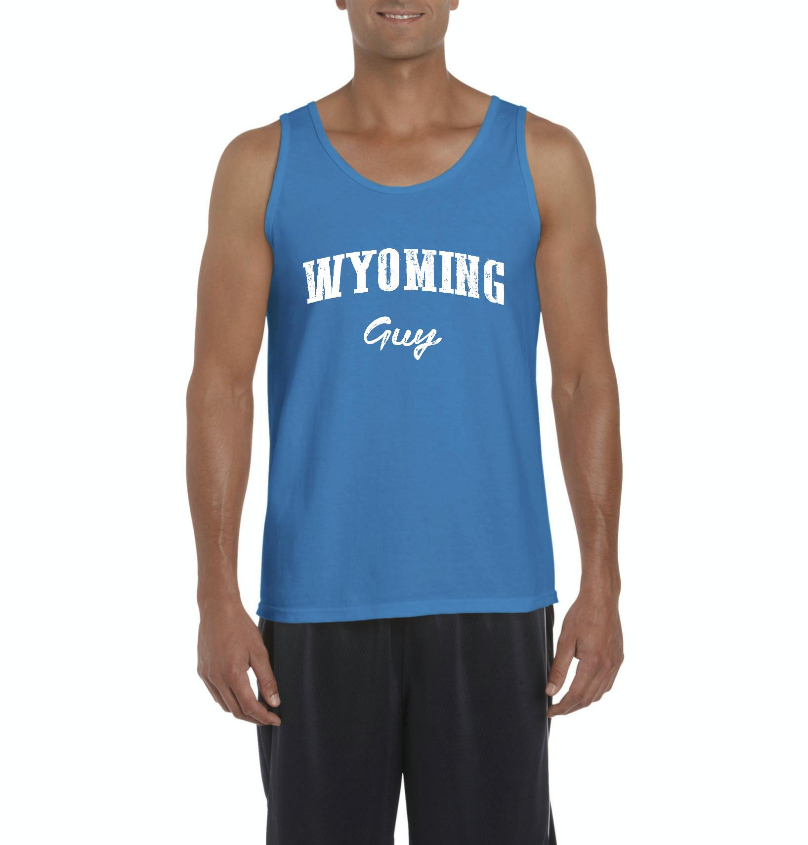 J_H_I WY Guy Wyoming Cheyenne Map Cowboys & Cowgirls Home University of Wyoming Mens Tanks