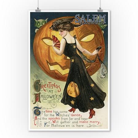 Salem, Massachusetts - Halloween Greeting - Witch Dancing and Pumpkin - Vintage Artwork (9x12 Art Print, Wall Decor Travel Poster) - Halloween Salem Massachusetts