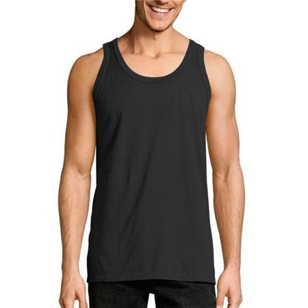 Mens ComfortWash Garment Dyed Sleeveless Tank Top, Black - 2XL