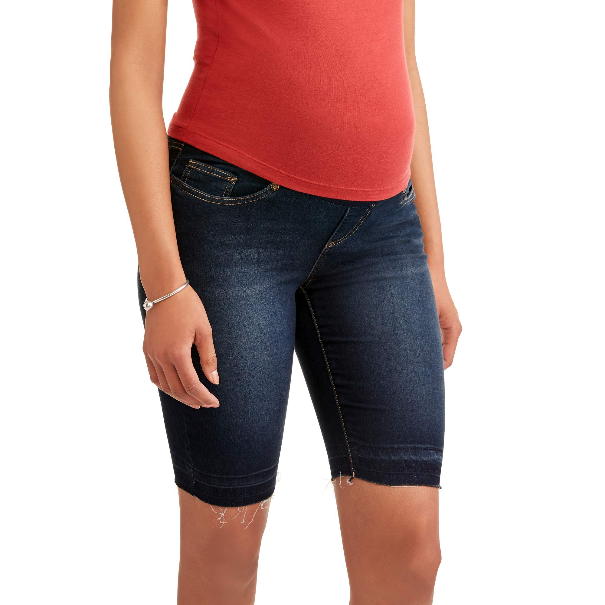 Maternity Demi Panel Fray Hem Denim Bermuda --Available in Plus Size by Generic