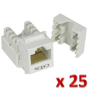 iMBAPrice (Pack of 25) Cat5e Punch Down Keystone Jack - White (Cat5e Keystone Jack)