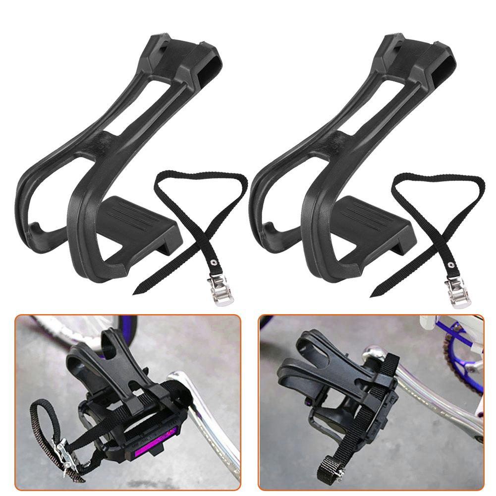 1 Set Safety Cycling Bicycle Bike Non-SlipToe Clip Toe Pedal Clips /& Straps