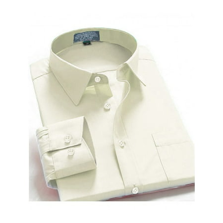 One Button Oxford Dress Shirt - Men Dress Shirt Regular Fit Oxford Solid Color