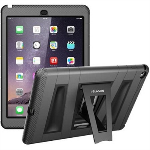 I-Blason ArmorBox 2 Layer Full-Body Protection KickStand - Back cover for tablet - silicone, polycarbonate - black - for Apple iPad Air 2