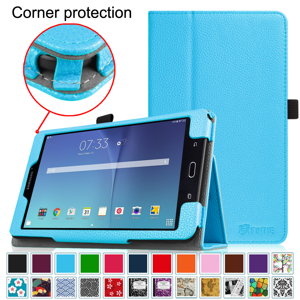 Fintie Folio Case for Samsung Galaxy Tab E 8.0 Tablet - Slim Fit Premium Vegan Leather Stand Cover, Blue