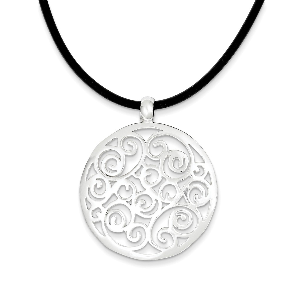 Sterling Silver 18in Round Fancy Pendant Cord Necklace