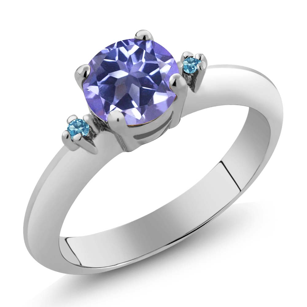 1.02 Ct Purple Blue Mystic Topaz and Swiss Blue Simulated Topaz 925 Silver Ring by