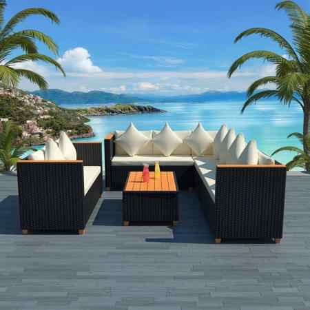 Garden Sofa Set 27 Pieces Poly Rattan WPC Top Black ()