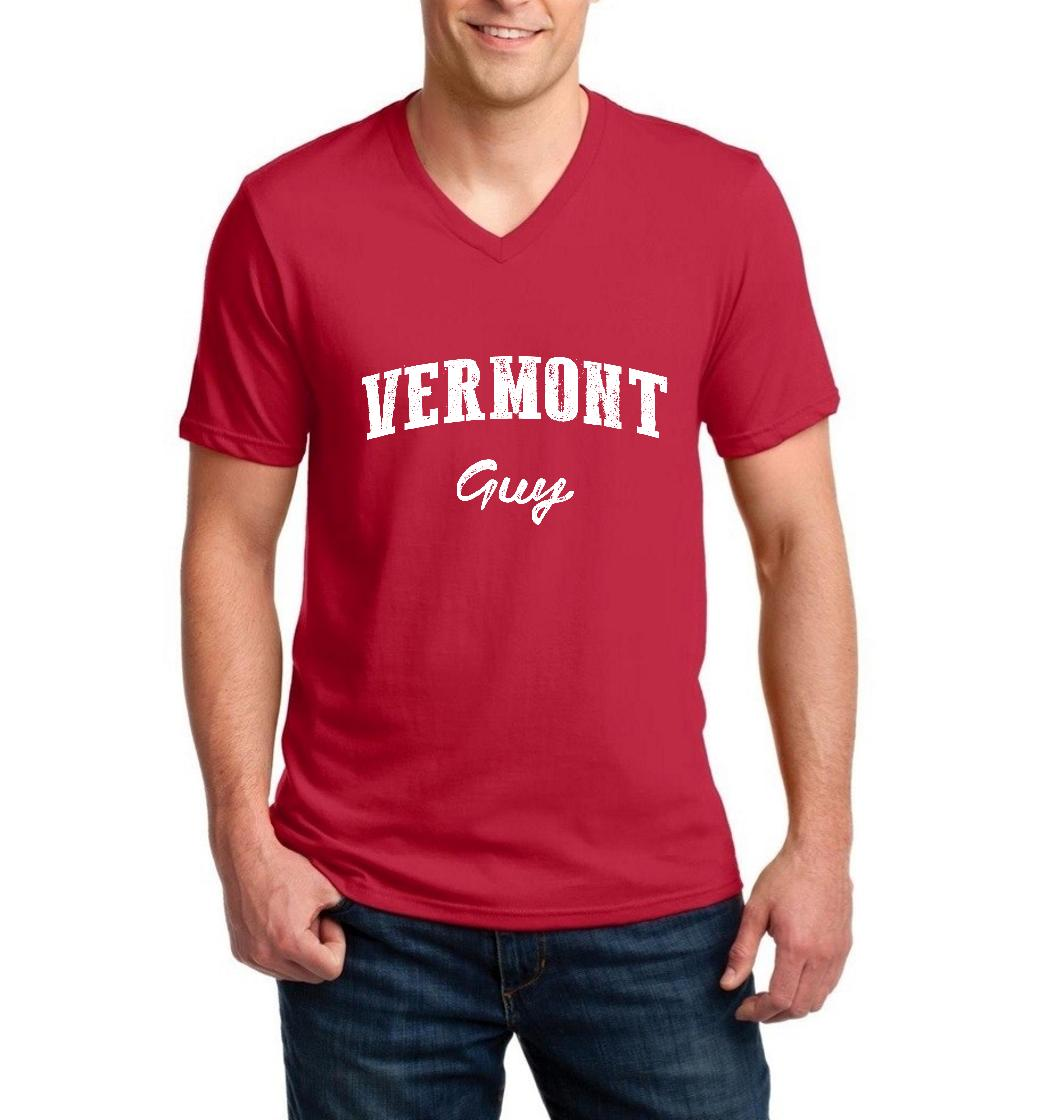 J_H_I VT Guy Vermont Flag Burlington Map Catamounts Home of University of Vermont Men V-Neck Shirts Ringspun