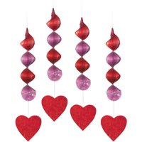 Valentine's Day Heart Hanging Decorations, 18in, 4ct