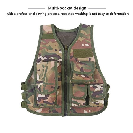 Awaymmer Kid Hunting Vest,Children Camouflage Vest,Hot Children Kids Camouflage Vest with Multi Pouches for Outdoor Combat Hunting Games thumbnail