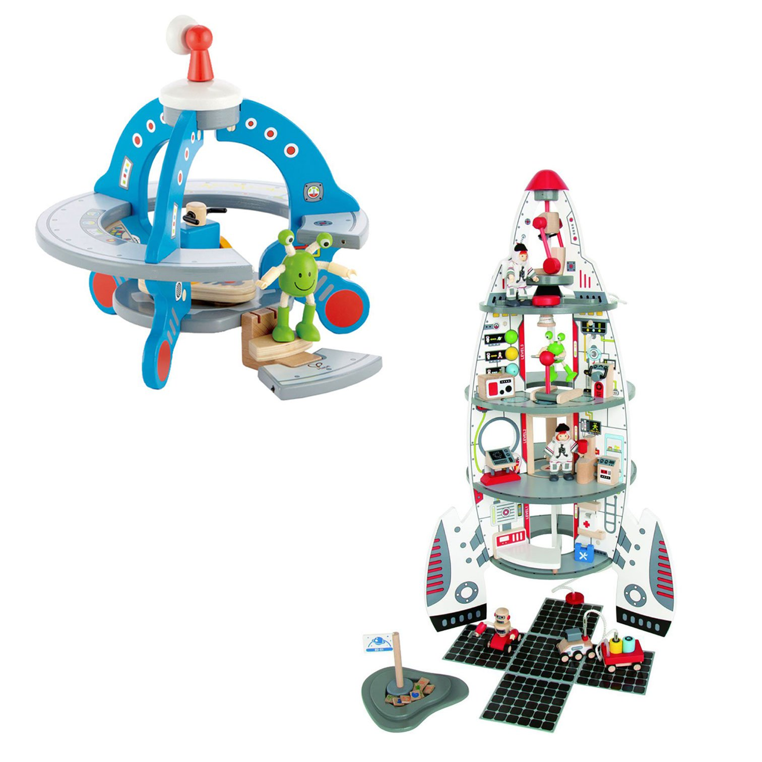 Hape Wooden UFO Space Ship and Multi Level Discovery Spaceship Center Play Sets by HaPe