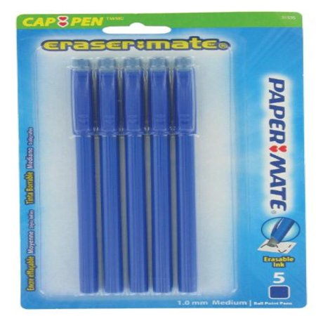 Sanford 1738754 Erasermate Stick Ballpoint Pens, Blue