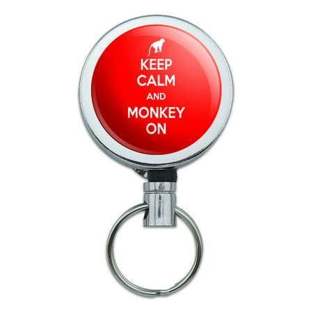 Keep Calm And Monkey On Chimp Ape Retractable Belt Clip Badge Key -