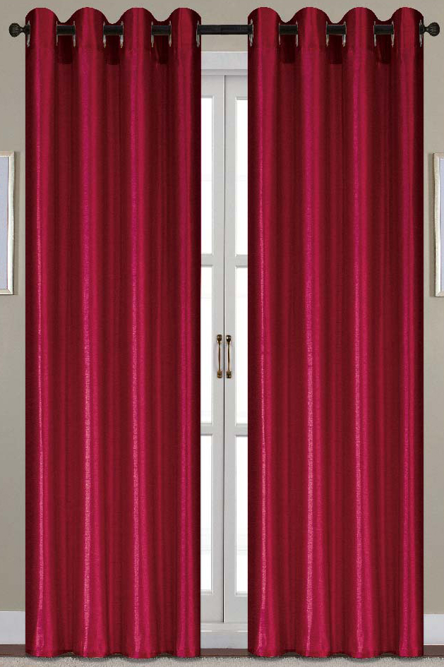 Nancy Faux Silk 54 x 84 in. Grommet Curtain Panel, Burgundy by Ramallah Trading Company, Inc.