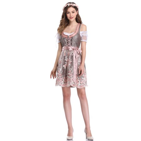 49ba2236780 Women's German Dirndl Dress 3 Pieces Traditional Bavarian Oktoberfest  Costumes for Halloween Carnival