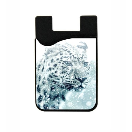 Snow Amur Leopard -  Stick On Adhesive Black Silicon Card Holder/ Pocket for Cell Phones](Stick Snow)