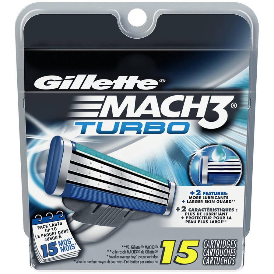 Gillette Mach3 Turbo Razor Cartridges, 15 count
