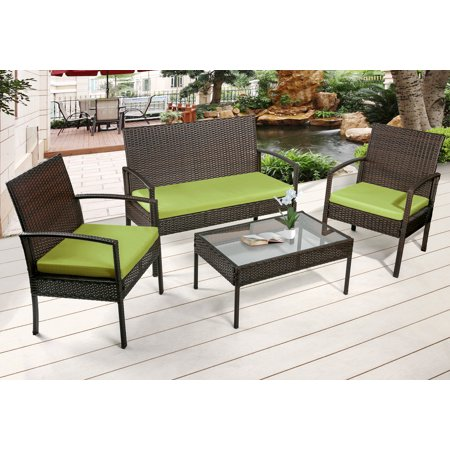 Merax 4 Piece Outdoor Rattan Furniture Set Patio Wicker Cushioned Garden Sofa Cushion Green