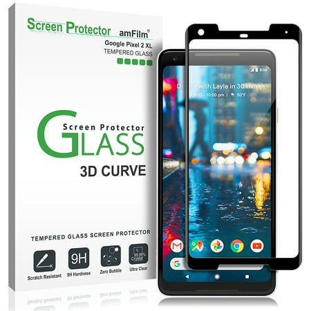 Google Pixel 2 XL amFilm Full Cover Tempered Glass Screen Protector (1 Pack, (Best Pixel Xl Glass Screen Protector)